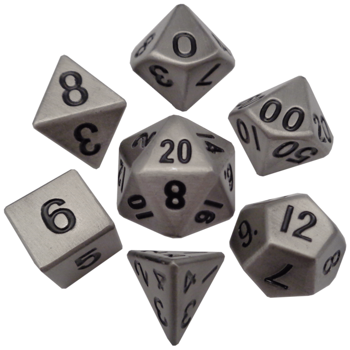 Antique Silver 16mm Metal Polyhedral Dice Set