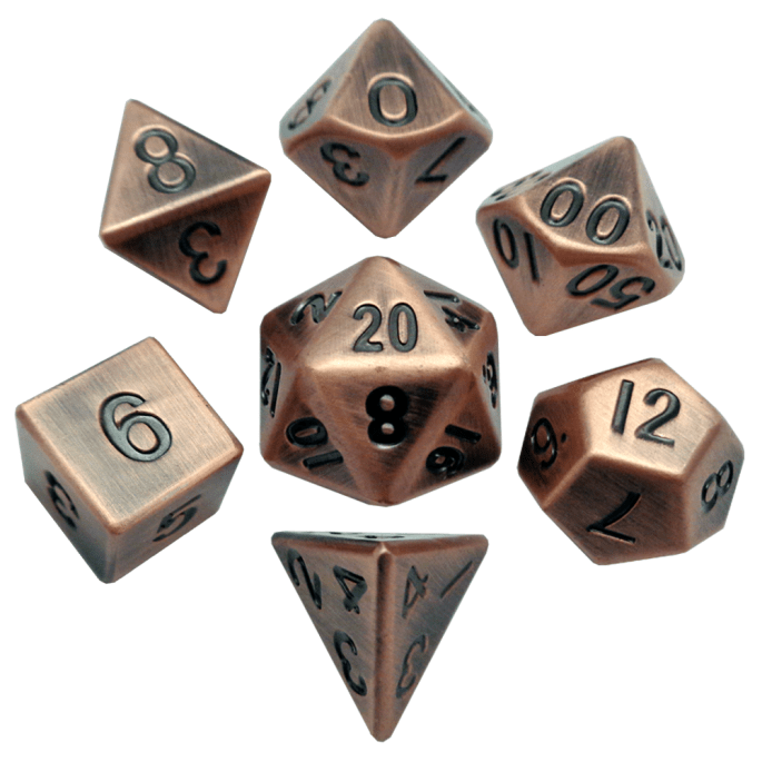 Antique Copper 16mm Metal Polyhedral Dice Set