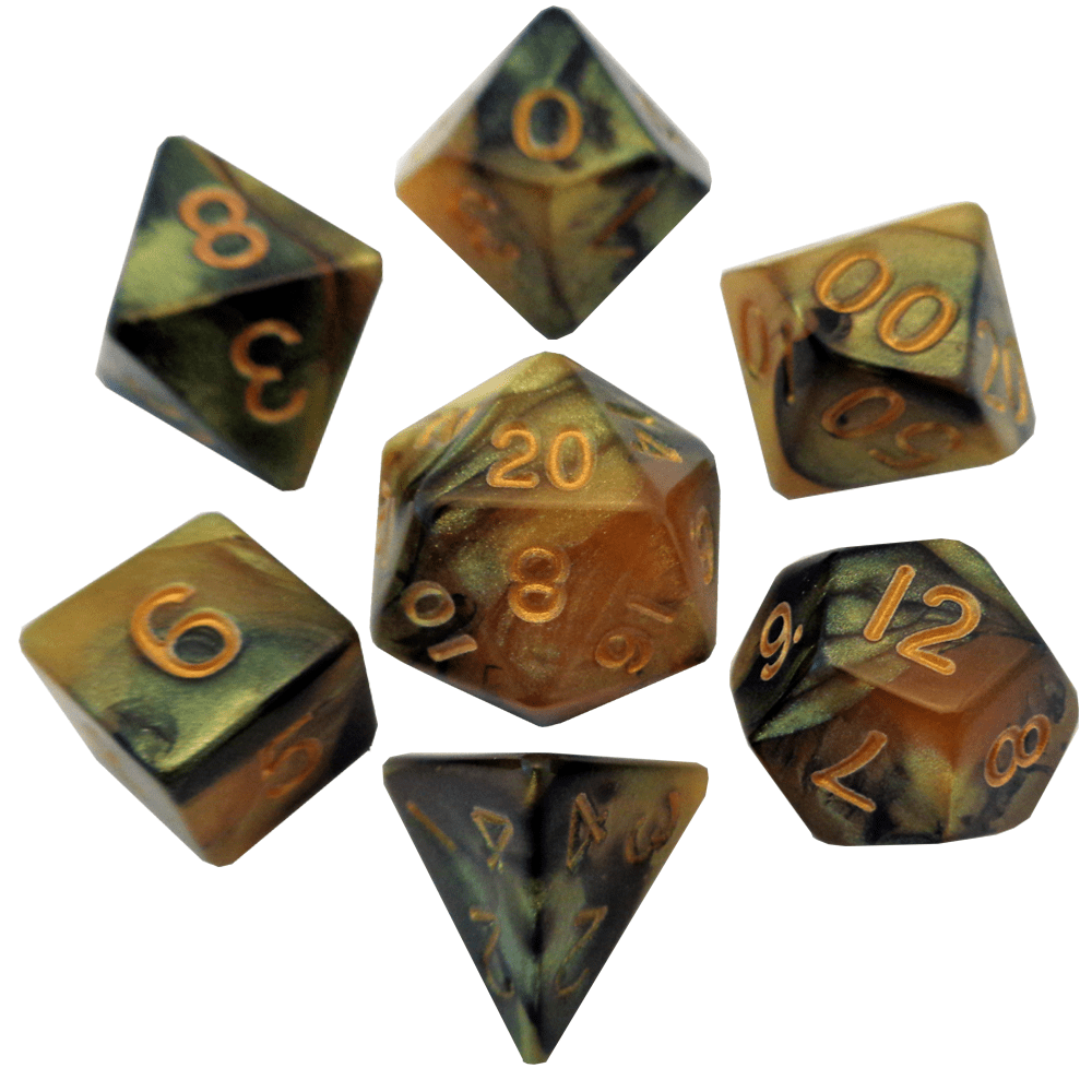 Blackyellow With Gold Numbers 16mm Polyhedral Dice Set