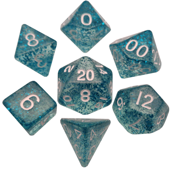 Ethereal Light Blue Poly Dice Set