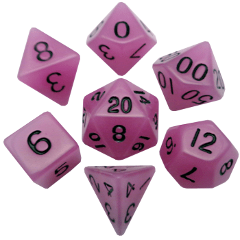 Glow In The Dark Purple Dice Set