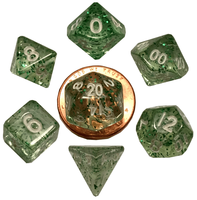 Ethereal Green Mini Poly Dice Set