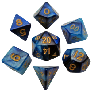 Blue and Light Blue Mini Poly Dice Set