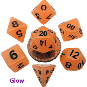 Glow In The Dark Orange Mini Dice Set