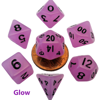 Glow In The Dark Purple Mini Dice Set