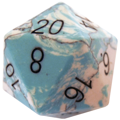 Engraved Synthetic Blue Turquoise 35mm Mega Gemstone d20