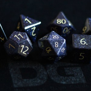 Gemstone Engraved Blue Sandstone Dice Set