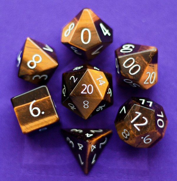 Engraved Tiger's Eye: Full-Sized 16mm Polyhedral Set