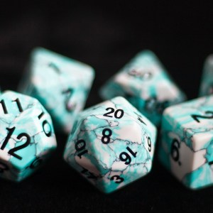 Blue Turquoise (Synthetic): Full-Sized 16mm Polyhedral Set