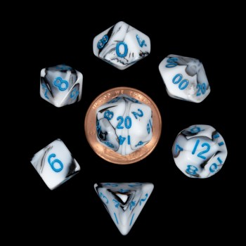 White and Black Marble with Blue Numbers Mini Poly Dice Set