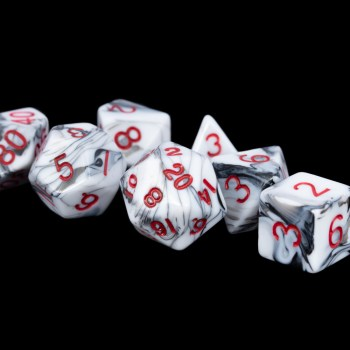 Marble with Red Numbers16mm Poly Dice Set