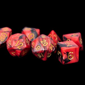 Black and Red Marble with Gold Numbers 16mm Poly Dice Set