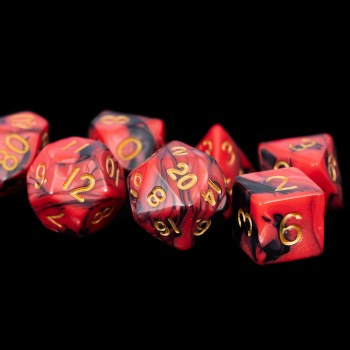 Black and Red Marble with Gold Numbers16mm Poly Dice Set