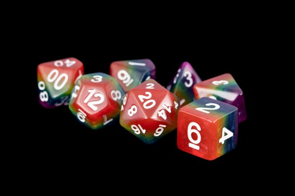 Rainbow (Opaque) 16mm Poly Dice Set