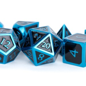Blue with Black Enamel 16mm Polyhedral Dice Set