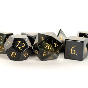 Engraved Blue Tiger's Eye: Full-Sized 16mm Polyhedral Dice Set
