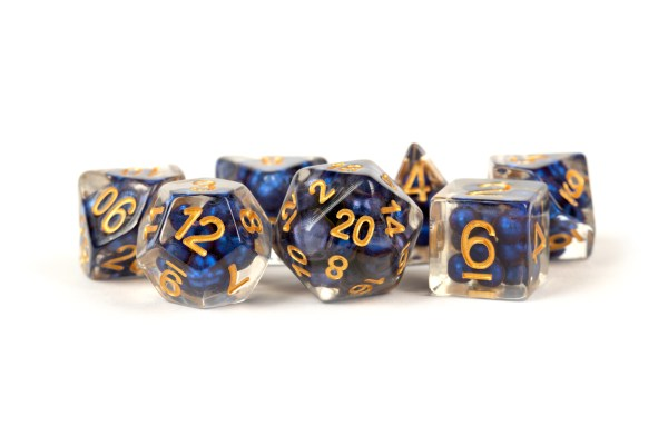 Pearl Dice Royal Blue with Gold Numbers 16mm Resin Poly Dice Set