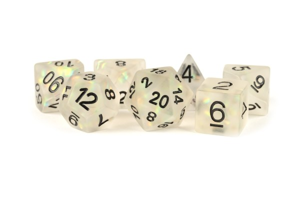 Icy Opal 16mm Resin Poly Dice Set: Clear