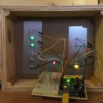 Binary clock prototype from behind turned on
