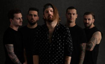Beartooth band photo, rock style, grey backdrop