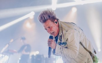 Papa Roach's Jacoby Shaddix singing live colour photo