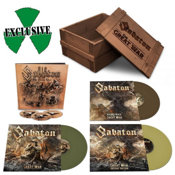 Picture of Sabaton's The Great War limited box set, showing some of the content. In the top left corner is the Nuclear Blast logo, beneath that is the 3 CD set which has a pencil art cover different to the regular album. In the bottom left corner is the album on vinyl with the dark green vinyl record pulled out. On the right hand side, at the top is a picture of a wooden crate which has Sabaton's logo on it and The Great War. Presumably that's the packaging but they didn't mention that. Beneath the crate is the Soundtrack to the War vinyl. The cover is a close up image of the smoke turning into skulls from the normal album cover. The vinyl record is sticking out so the darker, almost brown vinyl can be seen. In the bottom right hand corner is the last vinyl, the History Edition. The front cover is a zoomed in shot of the soldier from the artwork on the regular album cover. The vinyl is pulled out to show a lighter green vinyl record. The emblem, poem and postcards aren't pictured.