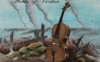 Apocalyptica Fields of Verdun cover. It is a drawn cover of a World War One battlefield with a cello propped up in the middle.