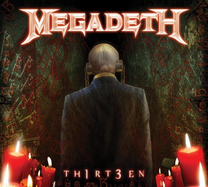Megadeth Th1rt3en album cover image. The artwork shows Megadeth's mascot Vic Rattlehead wearing a suit with his back turned to the viewer. The walls either side of him have 13 repeatedly scrawled on them in various styles like Roman Numerals, letters, numbers etc while candles burn.