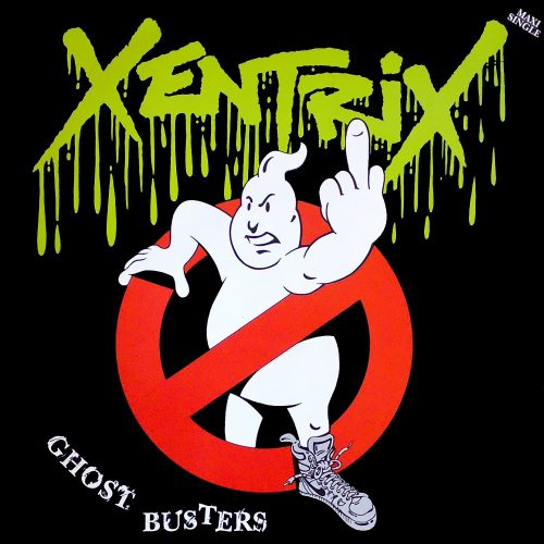 An image of the Xentrix Ghostbusters single cover that would be banned. The cover has the Ghostbusters logo of a cute ghost in a red circle with a bar through it, indicating no ghosts. However, the cute Ghost has been changed to be wearing Dr Martin boots and is giving the middle finger to the viewer.
