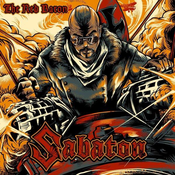 The Red baron Album Cover, Pilot in bi-plane, war scene, flight.