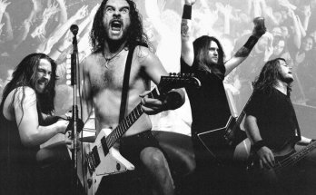 Airbourne black and white composite photo of the band members with a live crowd in the background