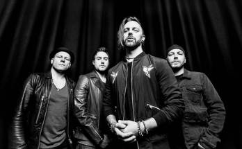 Black and white band photo of Bullet For My Valentine