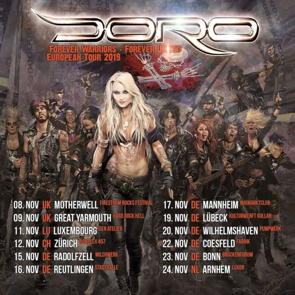 Doro Tour Poster 2019, Band Members, Metal, Rock, Post Apocalyptic