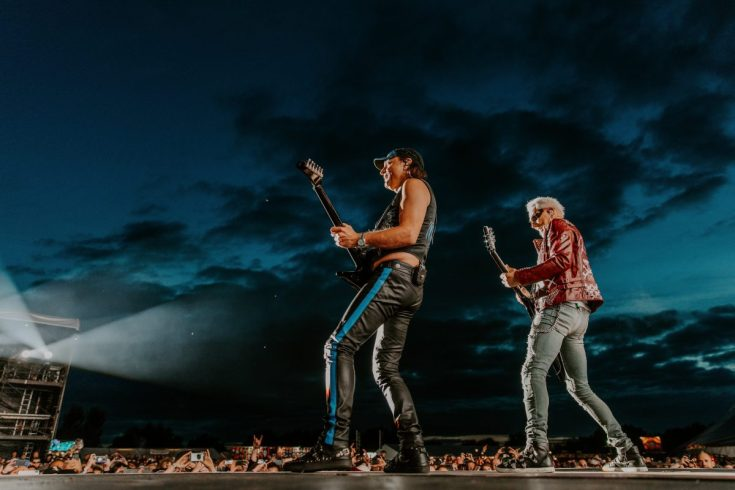 The Scorpions play in front of a summer night sky at Bloodstock 2019