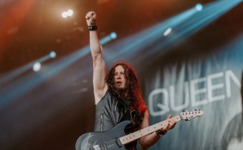 Michael Wilton, guitarist for Queensryche, on stage at Bloodstock