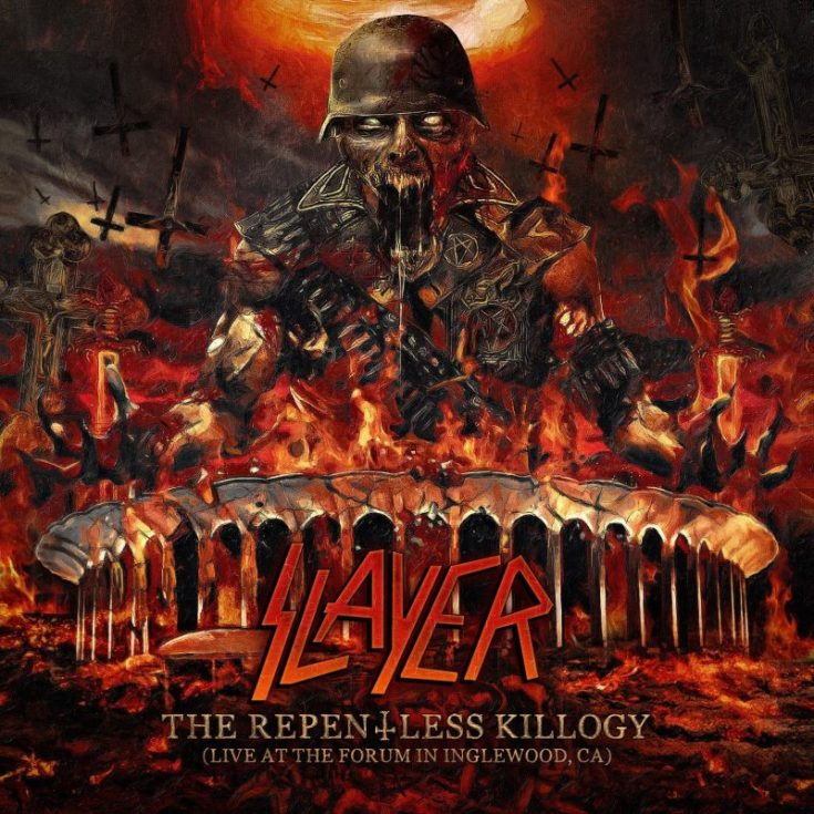 Slayer Repentless Killogy album cover image featuring a zombie in military uniform, lots of explosions, inverted crosses and a huge SLAYER logo.