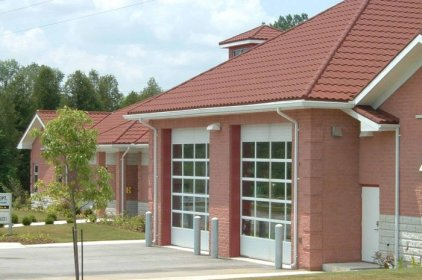 Here is a closer view of the Ontario Firehall which trusted Metal Roof Outlet's steel continental tile to protect it.