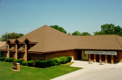 This Hebrew center in Ontario asked features a brown steel shingle from Metal Roof Outlet