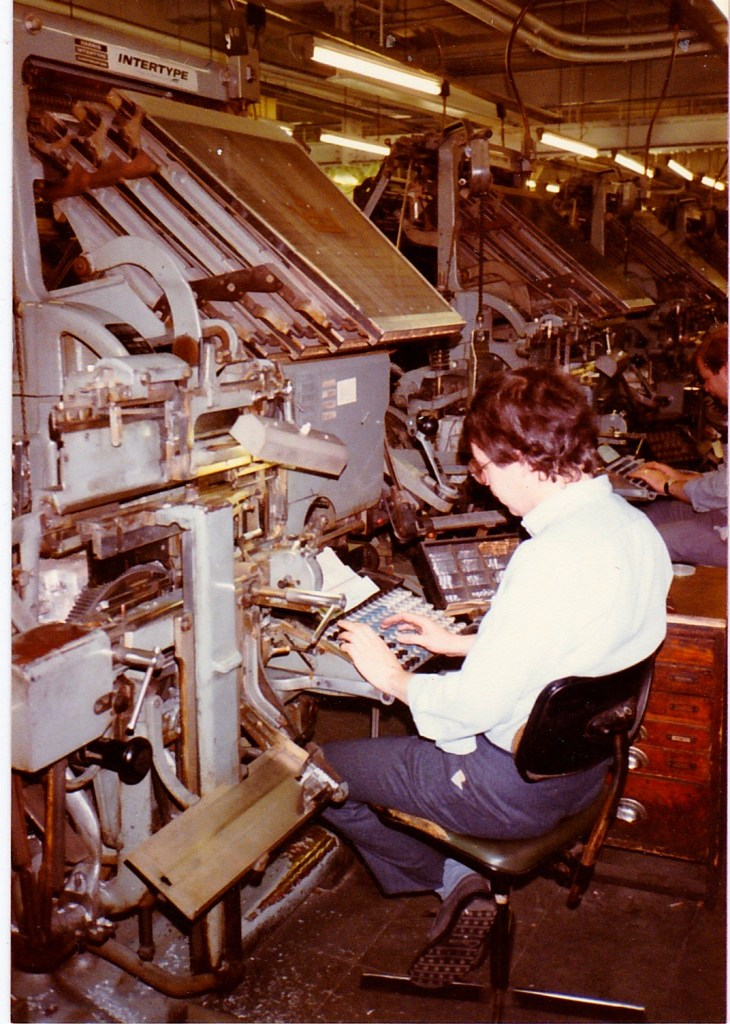 Brian Stafford typesetting on an Intertype in 1985 at Thomson Withy Grove, taken by Doc Holliday.