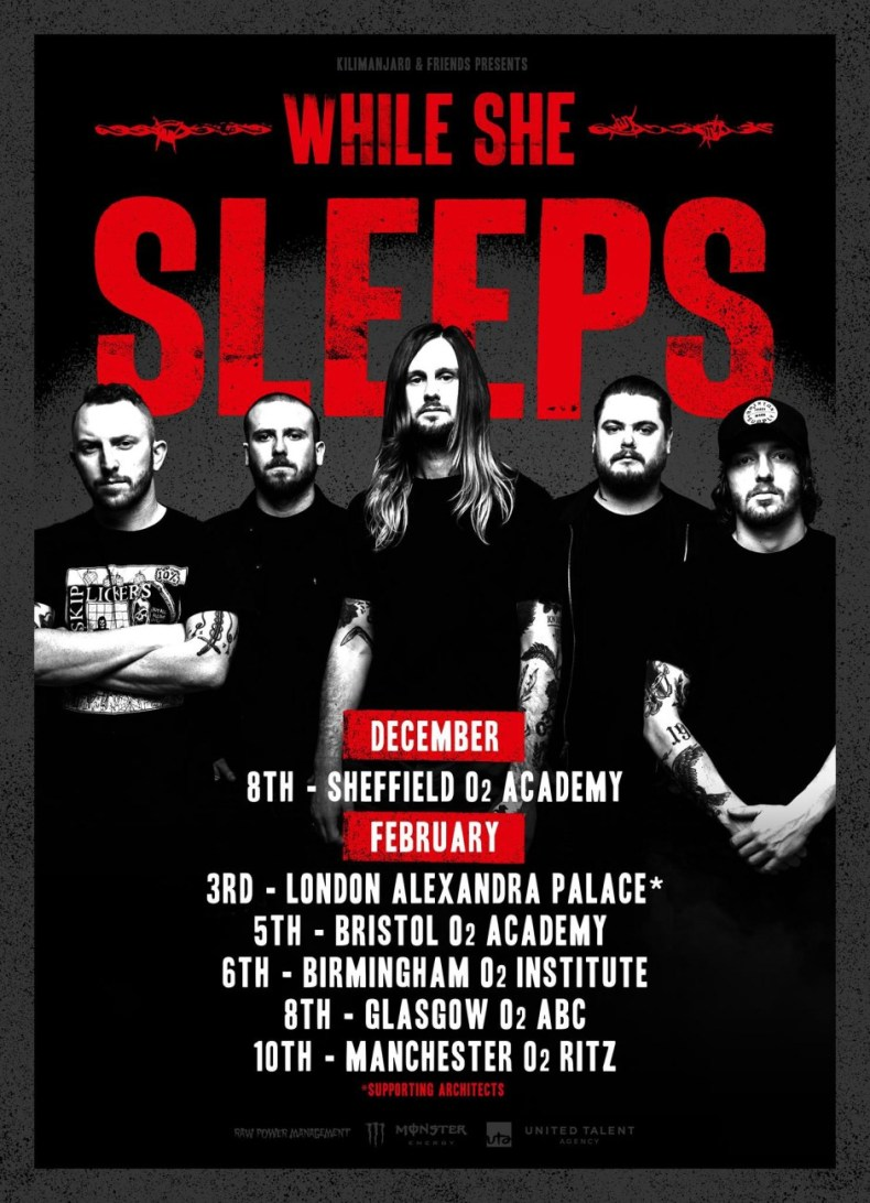 while she sleeps tour poster - GIG REVIEW: While She Sleeps, Blood Youth & Counterfeit Live at O2 Institute, Birmingham