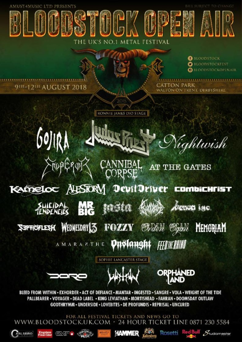 Bloodstock 2018 - FESTIVAL REVIEW: BLOODSTOCK OPEN AIR 2018 Live at Walton-on-Trent, Derbyshire, UK - Day 1 (Friday)