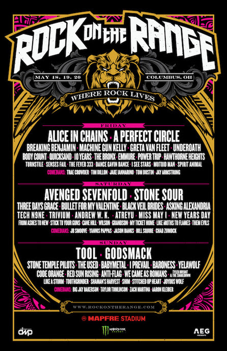 ROTR 2018 - FESTIVAL REPORT: Rock On The Range Announces Daily Band Lineups Announced; Weekend Tickets Sold Out