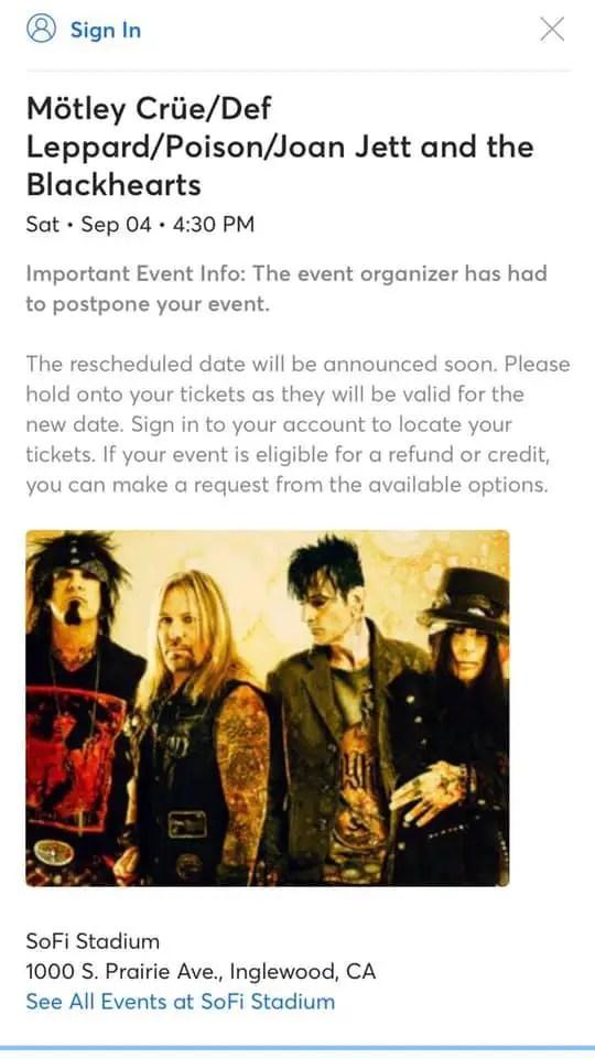 Crue Date - MOTLEY CRUE, DEF LEPPARD & POISON 'The Stadium Tour' Show Is Postponed
