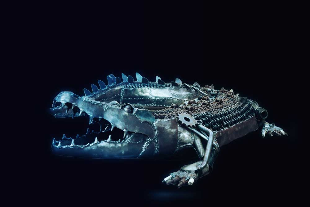 Metal Sculpture Saltwater Crocodile black background
