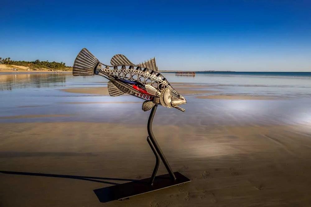 Metal Sculpture Barramundi at Cable Beach Broome
