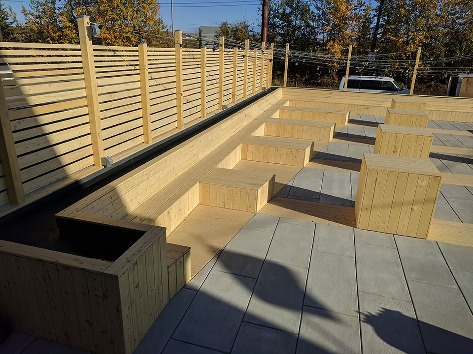 Yellow cedar benches and decking