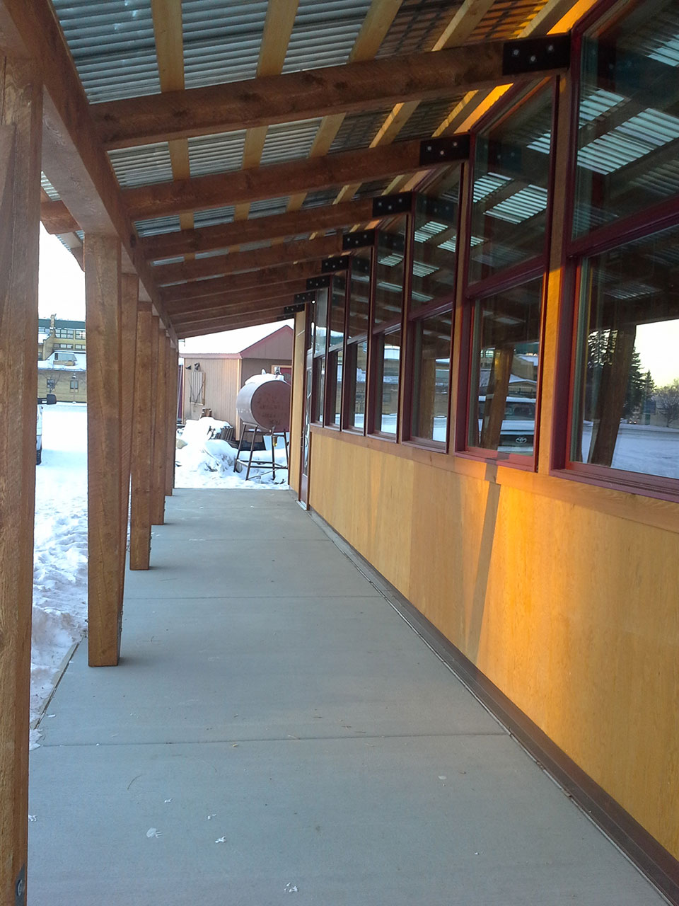 Covered porch and ordering windows at Pita Place