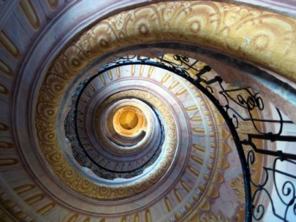 Baroque Spiral Staircase of the Melk Abbey, Lower Austria.