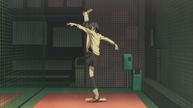 Shirobako-Maybe not the right outfit for that leg kick