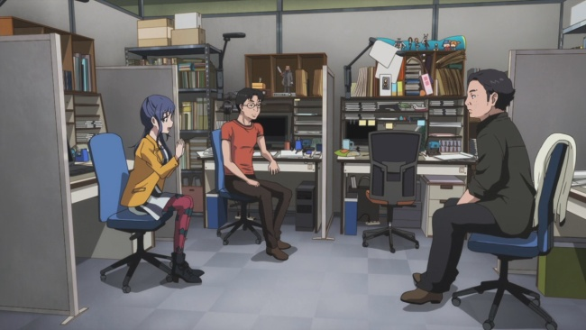 Shirobako-Discussing their work